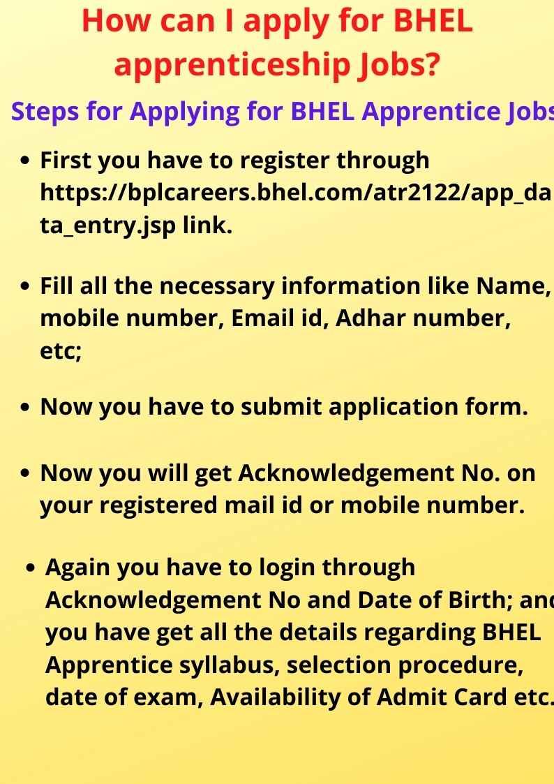 apply for BHEL apprenticeship Jobs