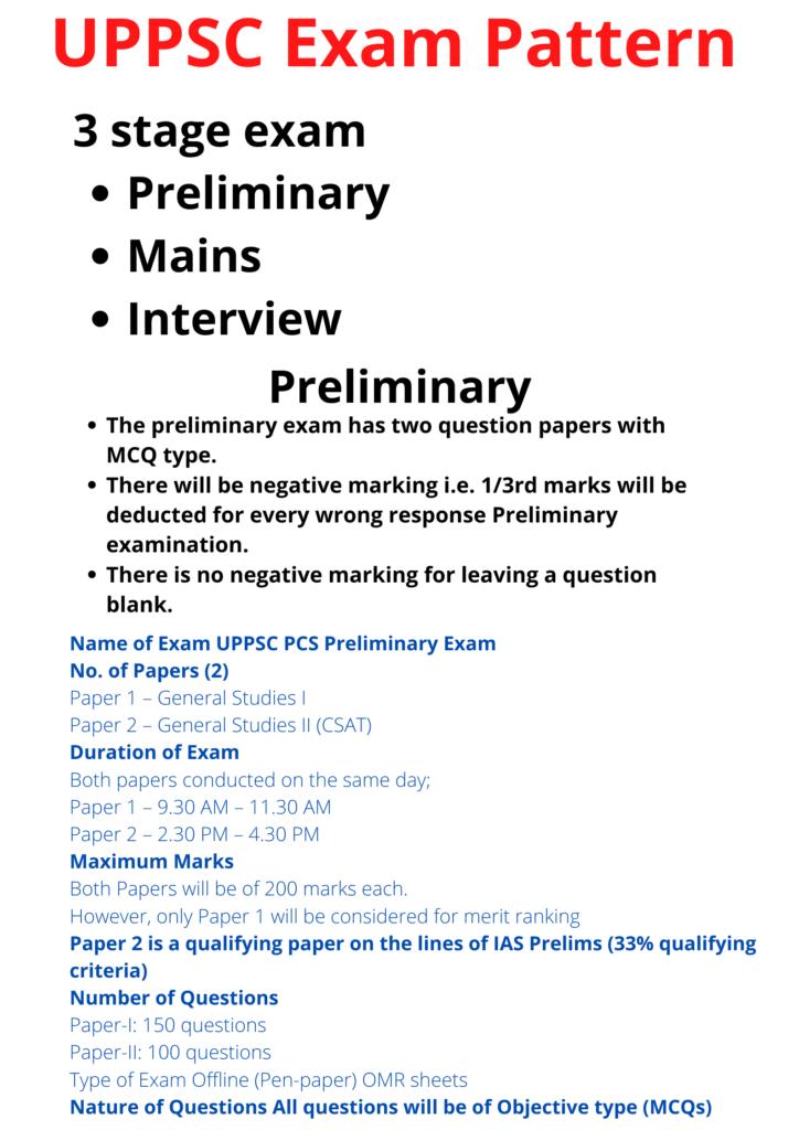 UPPSC Exam Pattern
