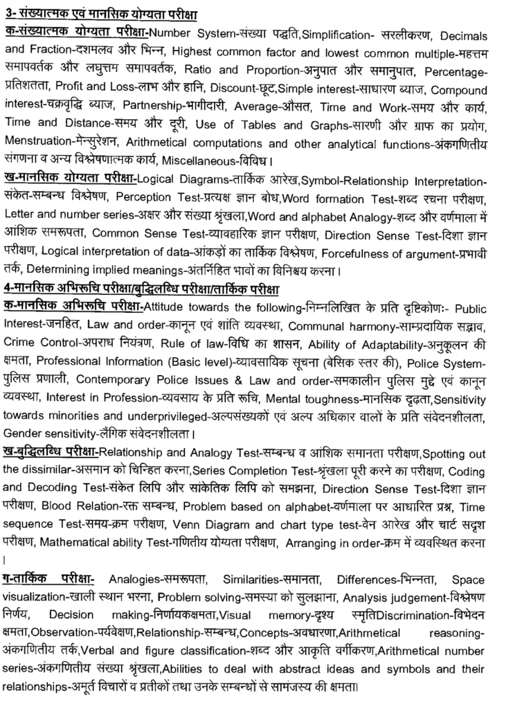 UPPRPB Police recruitment 9534 posts syllabus 2